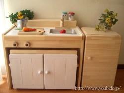 木製ままごとキッチンチェアータイプ《キッズ変身デスク》ミルキィ白<C600C>